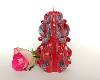 Valentines day gift Carved candle Decorative candle Beautiful candle Unique candle Gift idea Small carved Red-gray candle
