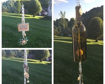 Follow Your Dreams Themed Handmade Wind Chime made from a Recycled Wine Bottle