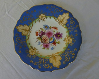 BEAUTIFUL hand painted Blue Gold Daisy Rose Flower Plate