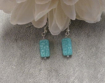 Turquoise Bead Rectangular Shape Earrings with Silver Ear Wires