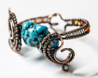 Turquoise and Fire Opal Bracelet