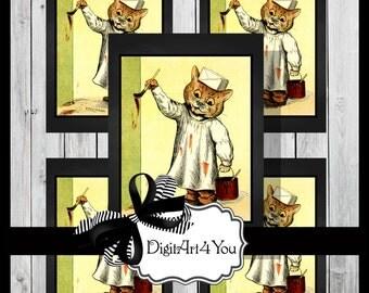 Greeting Card/Cards/Kids/Children/Nursery/Cat/Kitten/Paint/Strange/Unusual/Funny/DIY Printable Card/Blank Card/Vintage Art/Vintage/Retro