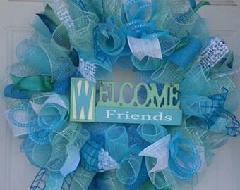 welcome wreath, mesh wreath, jute wreath, ribbon wreath, burlap wreath, summer wreath, turquoise wreath, aqua wreath, beach doorhanger