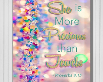 Personalized She is More Precious than Jewels Print (Canvas or Metal)