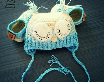 Newborn baby owl set hat + booties