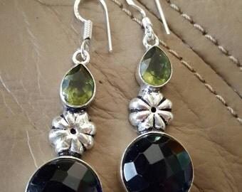 Blue and Green Quartz Earrings!