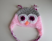 Baby Crochet Hat - Pink and grey Owl hat - 3- 6 months Size, baby crochet owl hat, animal crochet hat, infant crochet hat