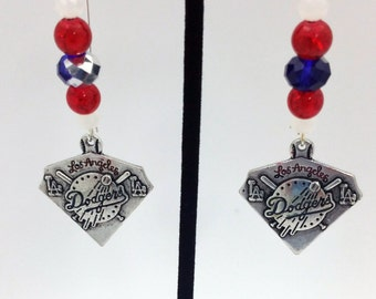 1 Pair -  Los Angeles Dodgers Theme Dangle Beaded Earrings Brass Ear wire Kidney Style EAR0027