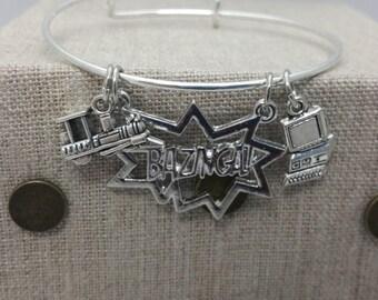 Big Bang Theory Bazinga Inspired Charm Bracelet Bangle Silver Tone Copper
