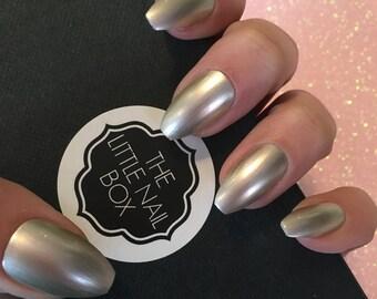 Hand painted metallic ballerina/ coffin press on nails | stick on nails | glue on nails | false nails | fake nails