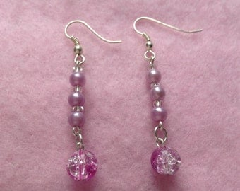 Pink & Purple Beaded Earrings.