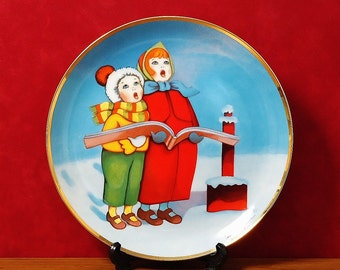 """FRANKLIN MINT""""S American Lung Association """"Christmas Carolers"""" by Pamela Paparone, 1960's Christmas Seal.  Collectors Plate , Excellent!"""