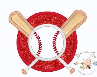 Baseball embroidery design, Baseball and Bats embroidery design, Baseball appliqué, 5x7 and 6x10 designs