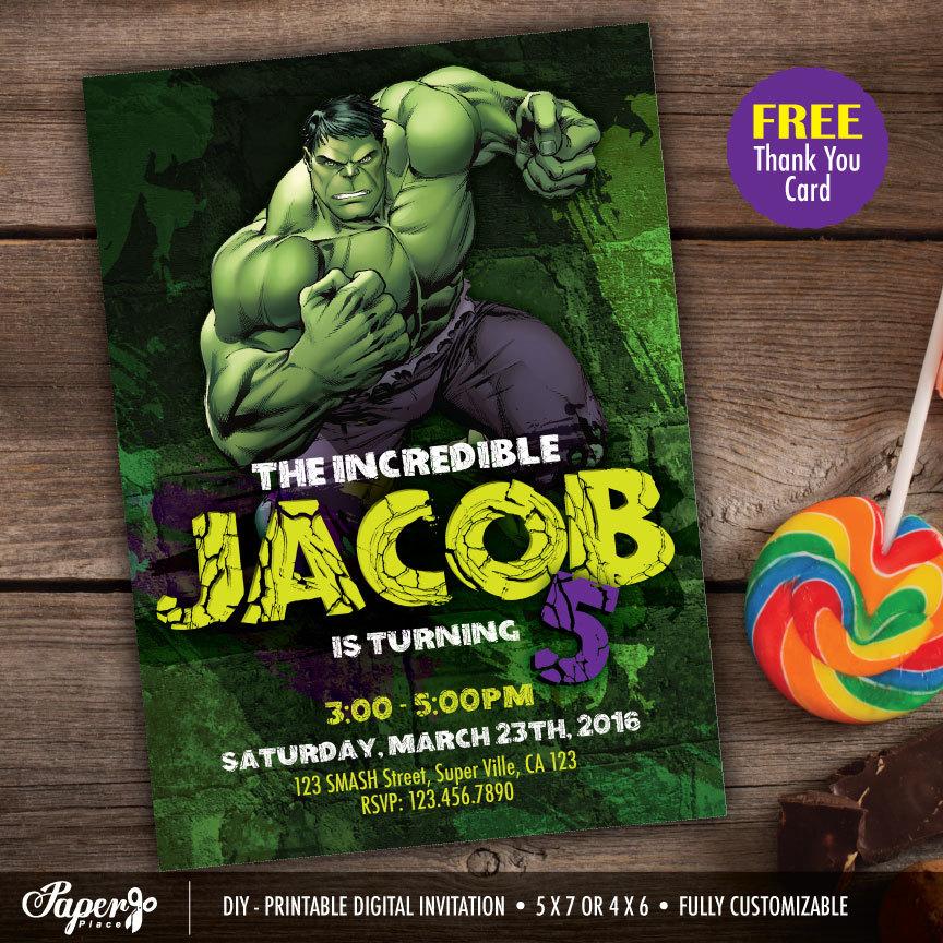 Hulk Invitation Printable Hulk Party Hulk Birthday Hulk