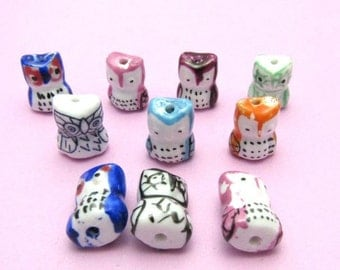 10 Handmade Porcelain Owl Beads - Random Mix of Colors (B9)