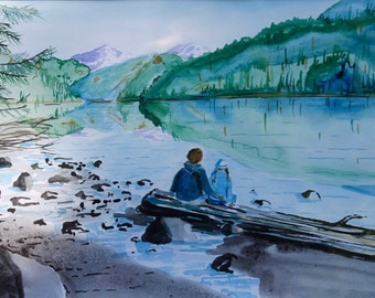 Couple by a lake watercolor painting, love by the lake painting, Romantic lake painting