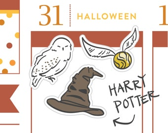 P125-Harry Potter Planner inspired Stickers, Halloween planner stickers, witch hat, owl, 28 stickers