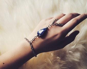 Lapis lazuli and pyrite hand chain