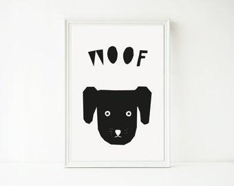 Printable Wall Art Nursery, Dog Print