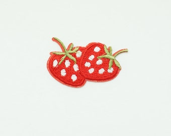 On Sale 2 PCS Strawberry Embroidered Sew Iron On Patch