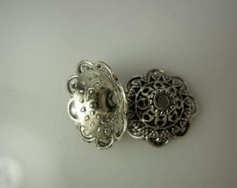 Bead Caps Bali Style Rhodium Plated Brass Silver #10186