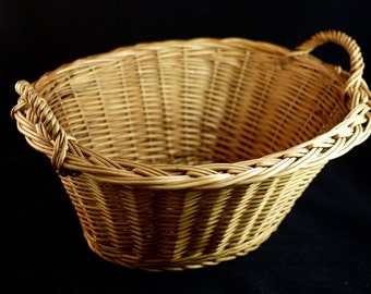 Rustic French Wicker Medium Oval Basket with two twisted wicker handles, Hand Made French Fruit Basket