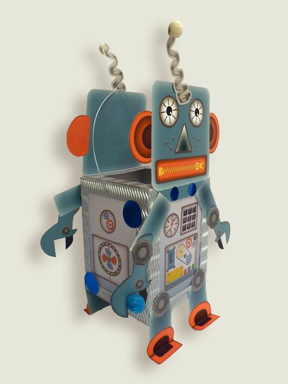 Lantern paper craft kit set robot android for children for Robotic halloween decorations