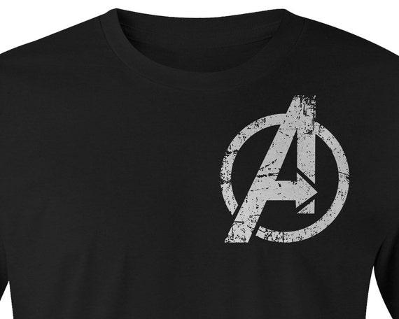 Avengers logo t shirt avengers over size logo left chest for T shirt left chest logo size