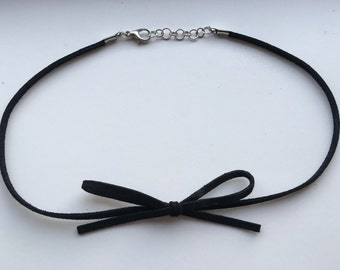 Suede Bow Choker Necklace