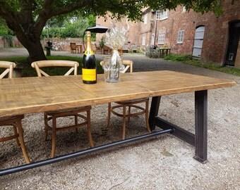 Industrial Vintage Girder Leg Rustic Handmade Dining Table