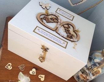 Wooden  heart Personalised wedding keepsake box, wedding, bride and groom