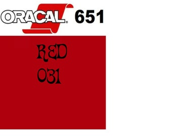 Oracal 651 Vinyl Red (031) Adhesive Vinyl - Craft Vinyl - Outdoor Vinyl - Vinyl Sheets - Oracle 651