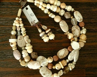 OOAK Three Row Necklace and Earrings Set with Natural Stones