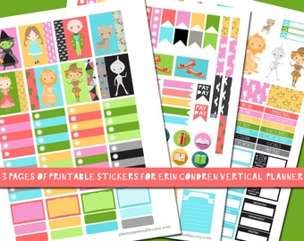 Wizard of Oz Stickers, Printable Planner Sticker Kit, ECLP, Erin Condren Life Planner, Vertical Weekly Kit, Witch, Fairy Tale, Book Lover