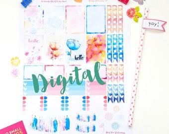 Happy Planner Watercolor Floral Sticker Sheet PDF
