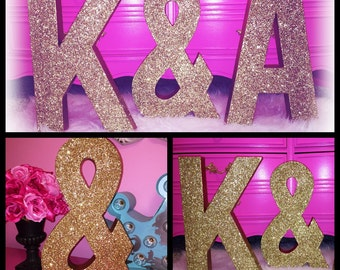 Large Glitter Letters- 16inch Letters- Wedding Decor-Glitter Initials- Monogram-Wedding Gift-1st Birthday- Pink Glitter Letters-Silver