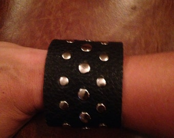 Leather Cuff Riveted Bracelet