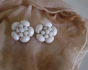 W Germany Earrings/Signed W Germany Jewelry/Clip On Earrings/Vintage W Germany Earrings/Cluster Earrings/Womens Earrings/Flower Earrings