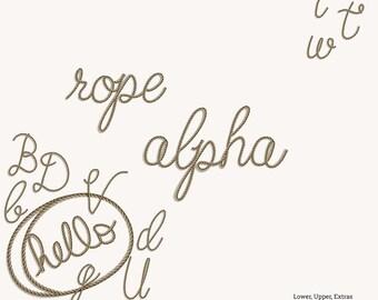 Rope Alpha- Digital Scrapbooking Paper- Uppercase, Lowercase, Numbers, Extras