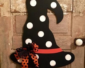Witch Hat Door Hanger - Halloween Decor - Halloween Door Hanger - Fall Decor - Fall Door Hanger - Holiday Decor - Witch Decor -