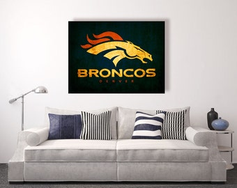 Denver Broncos vintage style Canvas Print, vintage football decor, football room decor, room decor for men, apartment decorating ideas