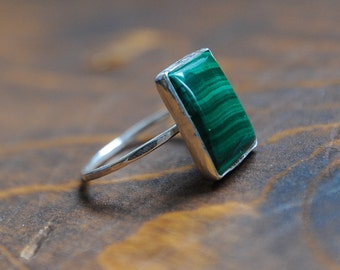 Green Malachite Square Sterling Silver Ring