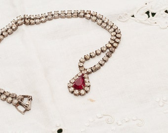 Vintage Rhinestone necklace with red pendant