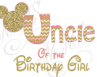 Uncle Minnie Mickey Mouse Mom Birthday Girl Shirt DIY Iron On Digital Art Little Sister Matching Pink Gold Pregnancy Announcement