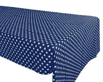 Cotton Table Cloth Stars Navy