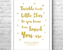 Personalized Baby Gifts Twinkle Little Star Print for Nursery Name Shower PP184- Any Colour - A4 A5 A3 Framed Print