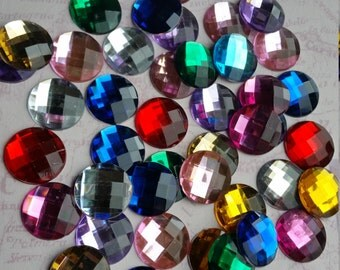 Cabochons, Rhinestone Flatbacks, Large Flatbacks, Round Gems, Large Gems, Round Flatbacks, Mixed Colour Flatbacks, Large Circles, 16mm Dome