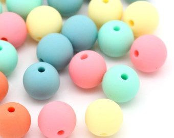 Candy Spacer Beads, Pastel Beads, 10mm Round Beads, Acrylic 10mm Beads, 10mm Pastel Beads, 10mm Ball Beads, 10mm Beads,