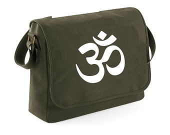 Bag natural messenger - OHM - ohm symbol - series Yoga meditation