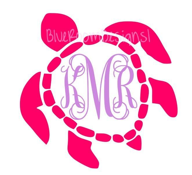 Download Sea Turtle Initials Monogram Vinyl Decal Circle Monogram